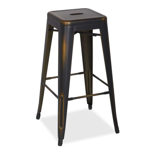 4x Tolix Metal Barstool Stackable Dining Barstool, Black Gold